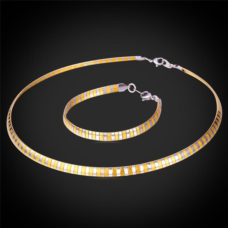 Unisex Stainless Steel Collar Necklace for Women Men Gold Plated Choker Fancy Snake Chain Bracelet Jewelry Set
