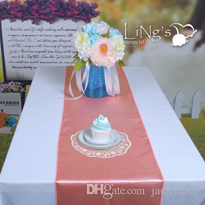 """Peach Color 12""""X108"""" Beautiful Satin Table Runners Wedding Banquet Cloth Runner For Festive Holiday Party Supplies New Arrival"""