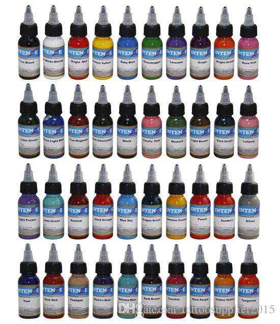 40pcs / set مزيج الألوان وشم الطلاء 30ML (1OZ) زجاجة من حبر الوشم الصباغ دليل ماكياج دائم