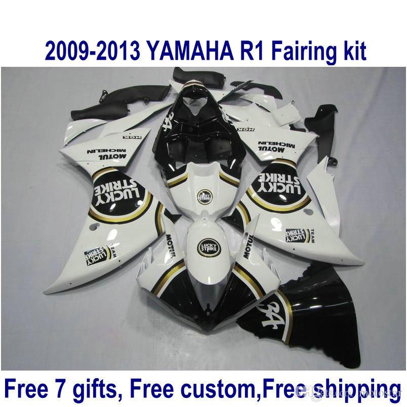 طقم أدوات ABS للدراجات النارية لياماها YZF-R1 2009-2011 2012 أسود أبيض LUCKY STRIKE YZF R1 ، مجموعة 09-11 12 13 HA59
