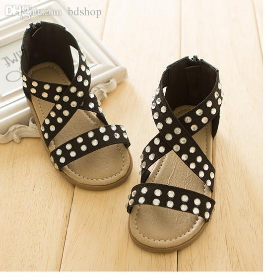 Atacado-Frete Grátis O novo Leopard Rhinestone Zipper requintado Meninas Sandals