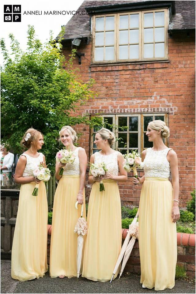 Yellow Lace Chiffon Bridesmaids Dresses A Line Maid of Honor Dress Floor Length Wedding Party Dress Formal Prom Gown 2015