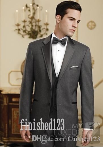 사용자 정의 만든 두 단추 어두운 회색 신랑 턱시도 노치 옷깃 Groomsmen 최고의 남자 웨딩 댄스 파티 정장 (자 켓 + 바지 + 조끼 + 넥타이) G5161