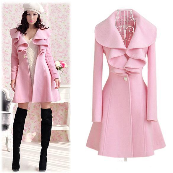 Abrigos largos de lana de las nuevas mujeres Chaquetas largas Slim Outwear Turn Down Collar Solid Ruffled Coat