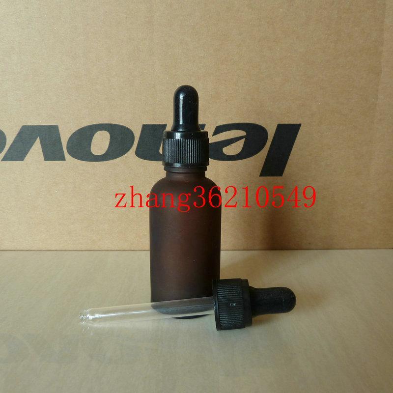 갈색 / 호박색 젖빛 유리 에센셜 오일 병 30ml 검은 플라스틱 일반 스포이드 캡. 오일 바이알, 에센셜 오일 용기