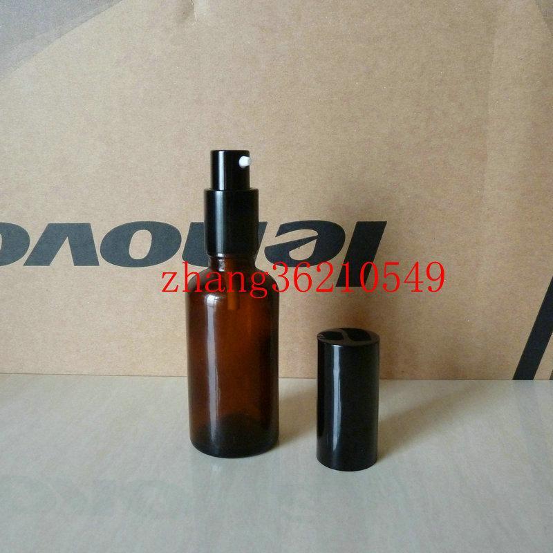 30ml 갈색 / 호박색 유리 로션 병 알루미늄 반짝 이는 검은 pump.for 로션과 에센셜 오일. 로션 크림 유리 용기