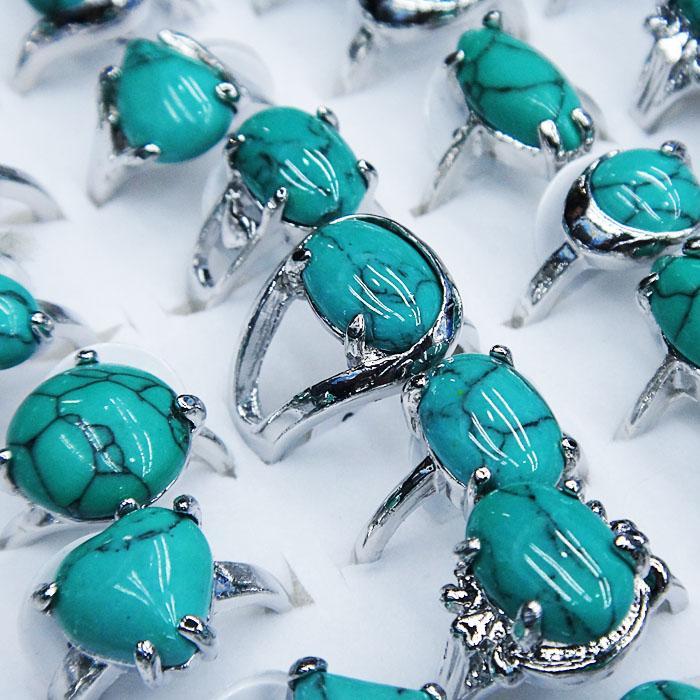 Mix Estilo Natural 10pcs Turquoise Mulheres Homens Bola Anéis partido frete grátis atacado jóias Lotes A-110