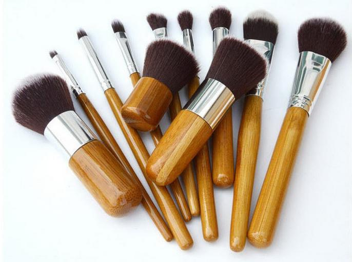 Cosmetics Maquiagem Profissional 11 Pcs Professional High Quality Bamboo Makeup Brush Set Goat Hair Cosmetic Brushes Kit with Bag Dhl