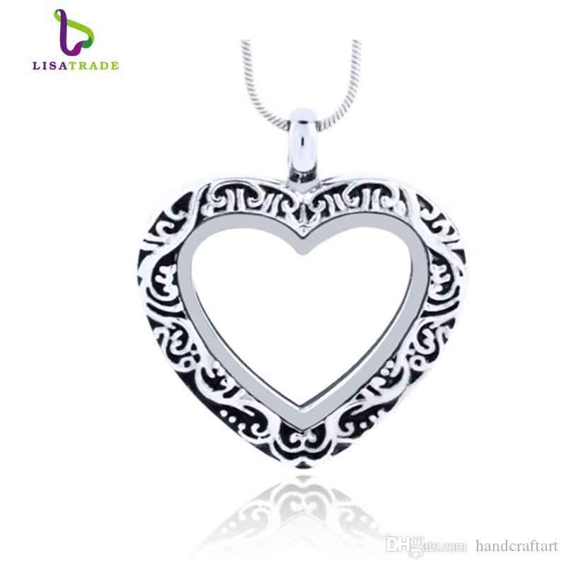 Silber Herz Magnetglas Schwimm Charme Medaillon Zinklegierung (Ketten kostenlos enthalten) LSFL07-1