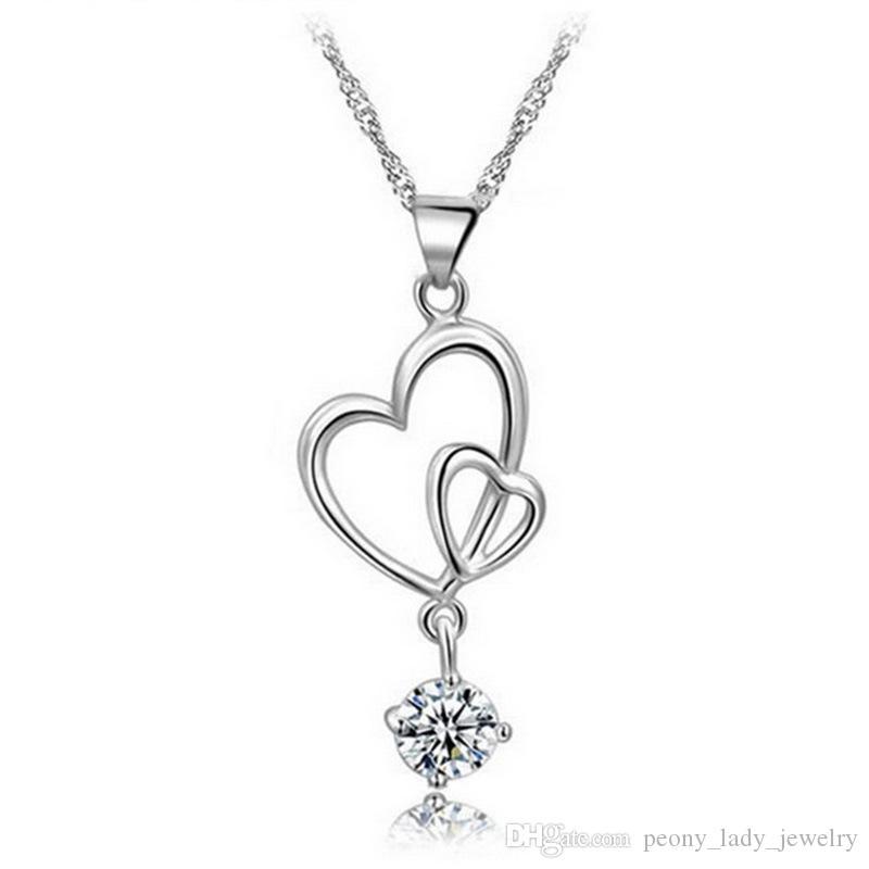 925 Sterling zilveren artikelen Crystal Jewelry Hanger Verklaring Kettingen Bruiloft Vintage Dubbele Hart Drop-gevormde charmes