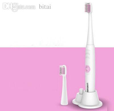 All'ingrosso-Ultrasuoni spazzolino elettrico elettronico impermeabile morbido elastico ugelli igiene orale cura dentale 2 colori con testa di ricambio