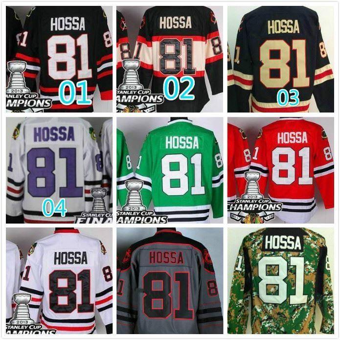 2016 NIEUW, Marian Hossa Jersey # 81 Chicago Blackhawks Marian Hossa Hockey Jerseys Groen Zwart Rood Wit Grijs 2015 Stadium Serie Jersey