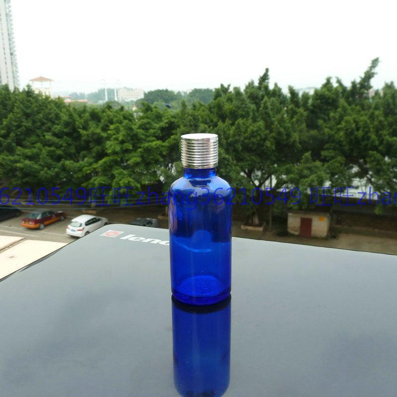 50ml 블루 글래스 에센셜 오일 병 반짝이 은색 알루미늄 캡. 오일 바이알, 에센셜 오일 용기