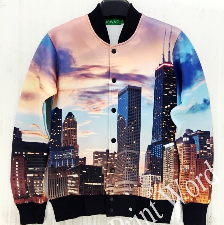 FG1509 Super Deal Unisex baseball jacket Coat Funny City Scenery Sunset 3D Print jackets and coats men outdoor clothes women Sport suit