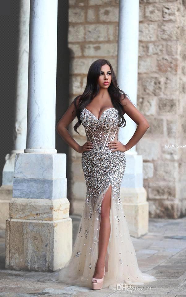 Said Mhamad querido strass Mermaid Dresses Prom 2020 Sexy Sheer frisada corpete Dividir Vestidos Pageant Partido Vestidos BA1959