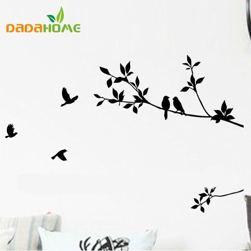 DIY Amovible Mural Autocollant Mural Stickers Décoration Art Branche Arbres Et Oiseaux Art Vinyle Noir Motif Classique