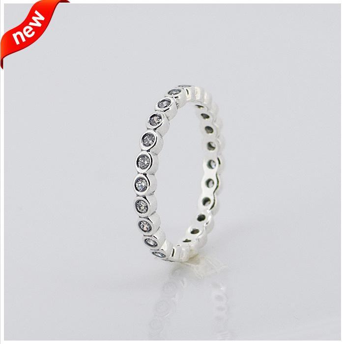 Pandora ile uyumlu takı yüzük küçük yuvarlak gümüş yüzük zirkon 100% 925 ayar gümüş takı toptan DIY