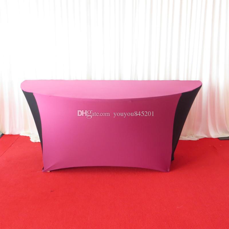 Özel tasarım: 6ft yuvarlak yarım ay mor siyah renk spandex masa örtüsü 2 adet ücretsiz kargo