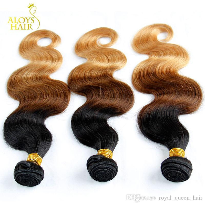 Ombre Mongolian Hair Weave Bundles Grade 6A Ombre Mongolian Body Wave Virgin Human Hair Extensions 3Pcs Three Tone 1b/4/27# Tangle Free