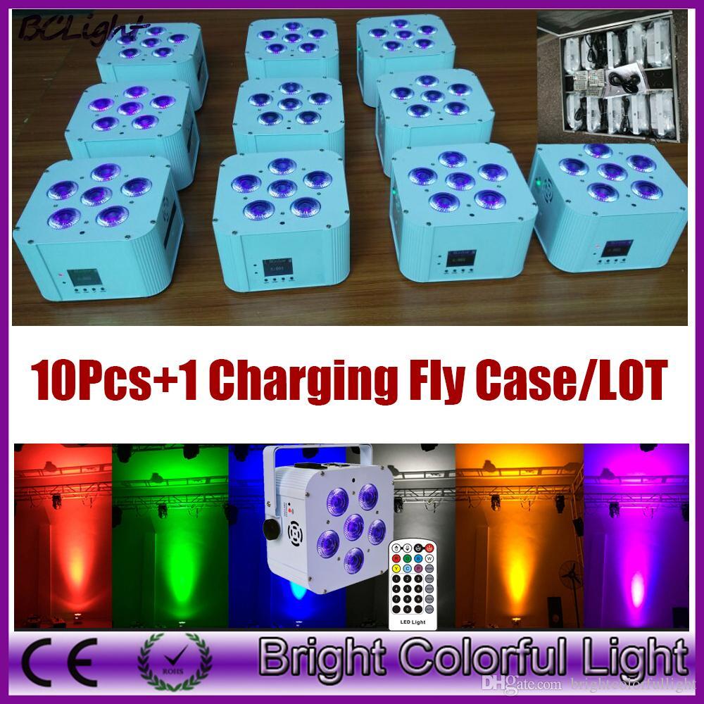 (10 pezzi + 1 cassa / lotto mosca) Controllo DMX wireless RGBWA + UV 6x18W illuminazione led wash Controllo IR a led a batteria con luce par
