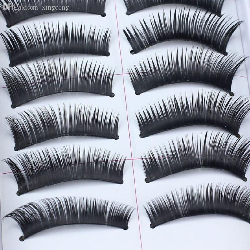 Atacado-10 Par / set Nova Chegada Senhora Menina Moda Natural Handmade Make Up Longo Cílios Postiços Mulheres Handmade barato chicote do Olho Falso
