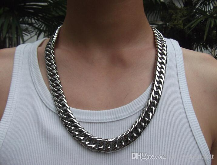 With Lobster clasp Men Jewelry 15mm 24'' Huge Large Stainless Steel Heavy Chunky Cuban Curb Link Necklace Chain for Friends holiday Gifts