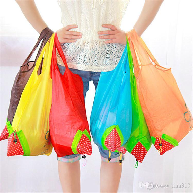 Creative Strawberry pattern shopping bag Folding environmental protection bag Moda Portable Storage handbag decorative cloth bag IA960