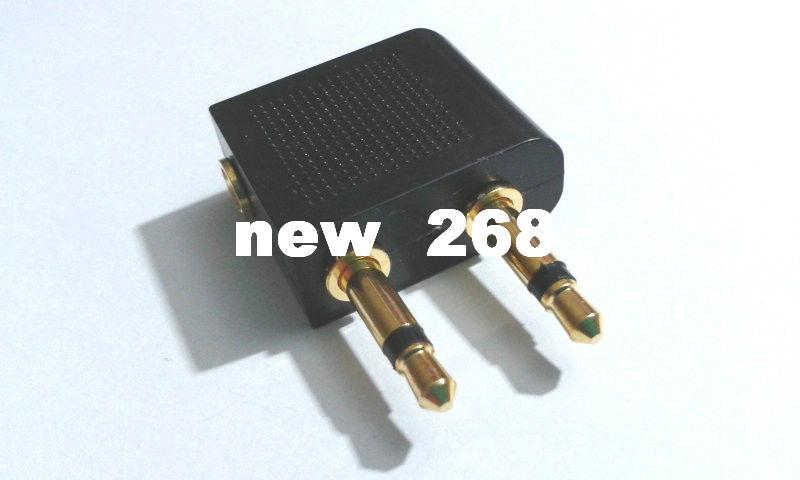 100 X Gold-plated Airplane/Airline/Air Plane Travel Headphone/Earphone Jack Audio Adapter 3.5mm