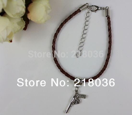 Vintage Silver 3D Pistol Charms Bracelets Leather Pendants Good Luck Bracelet& Bangles 18 cm DIY Jewelry Girls Bijoux 100PCS Wholesale N1440