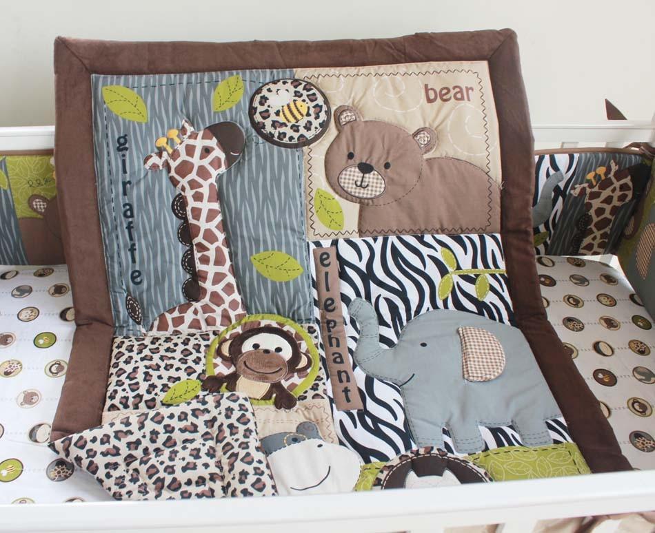 7Pcs Boy crib bedding set baby Quilt Cot bedding set Embroidery 3D cartoon animal Bear Giraffe Owl Pure cotton comfortable Baby bedding set