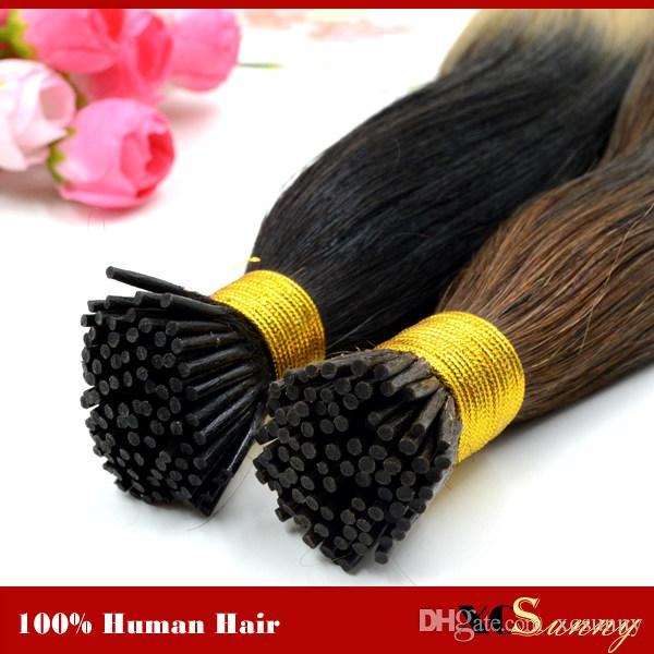 "Extensiones de cabello natural XCSUNNY Extensiones de cabello con punta en I de queratina 18 ""20"" Extensiones de cabello humano 100% indiano prebonado 100 g / paquete"