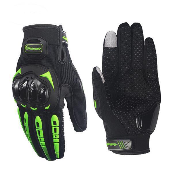 Gants de moto à écran tactile respirant équipement de protection Bike Racing gardes antidérapantes Gants Gants de moto été noir vert