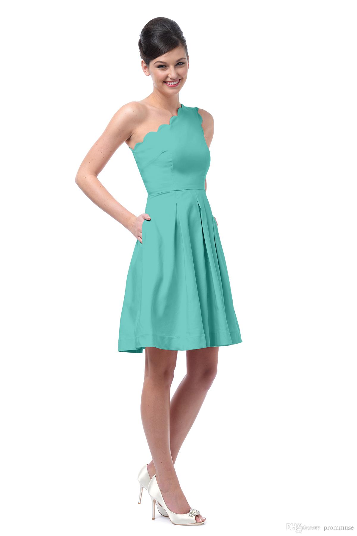 2017 Short Bridesmaid Dresses With Pockets Turquoise Bridesmaid ...