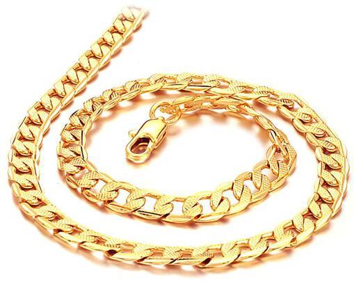 """الحرة الشحن سميكة بالجملة رجالية 18K الذهب الأصفر معبأ قلادة 24 """"فيجارو سلسلة 7MM 24G رجالية مجوهرات GF"""