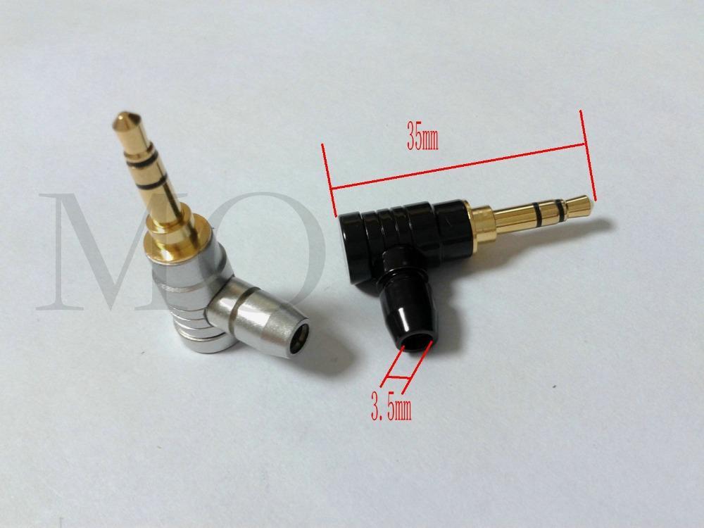 """2шт 1/8 """" 3,5 мм стерео угловой штекер припой Джек аудио адаптер DIY"""