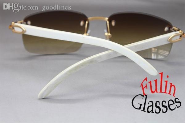 Оптовая продажа-Оптовая 2015 новые солнцезащитные очки Белый буйвол подлинной Рог очки все цвета: золото 8200759 или серебро 8200760 размер 60-18-140mm