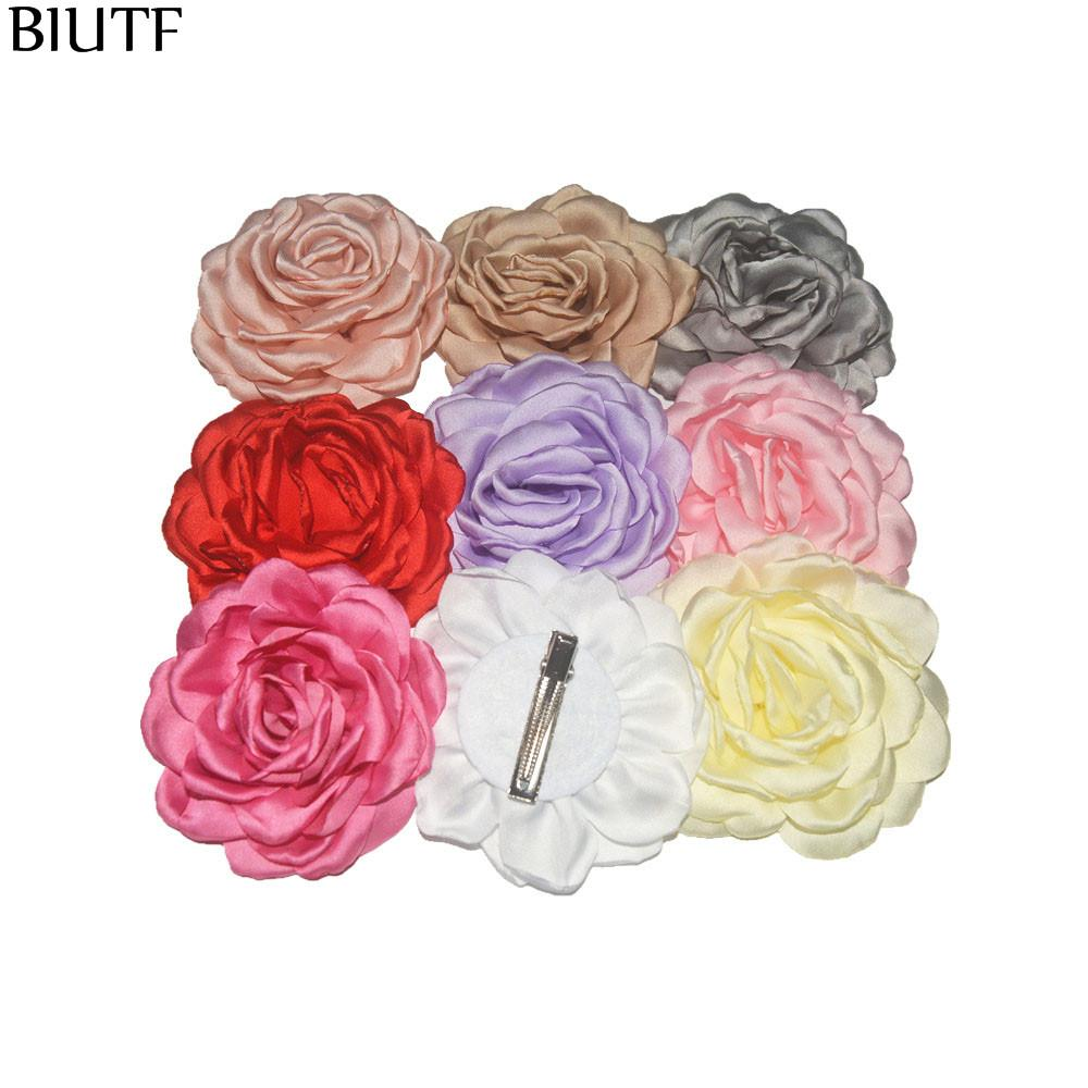 34pcs /Lot 9 .5cm Artificial Satin Burned Peony Flower Hairpin Fashion Hair Clip Children Accessories Hair Decoration Th240