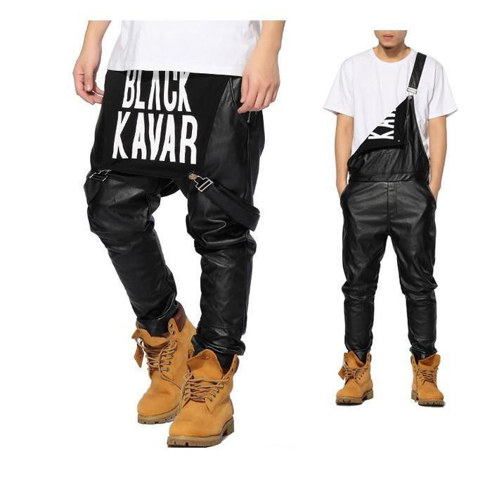 44359d50532 New Arrival Man Women Hiphop Hip Hop Swag Black Leather Overalls Pants  Jogger Urban Clothes Clothing Justin Bieber