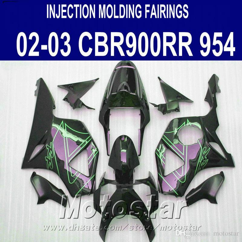 7 regalos gratis + kit de carenado para Honda moldeo por inyección cbr900rr 954 2002 2003 CBR 900RR verde carenado conjunto CBR954 02 03 YR90