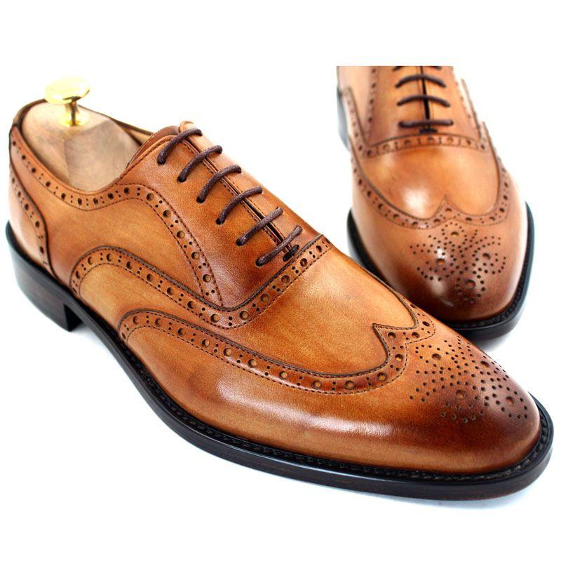 Men Dress shoes Oxfords shoes Custom handmade shoes Men's shoes Genuine leather Wingtip brogue Design Color brown HD-054