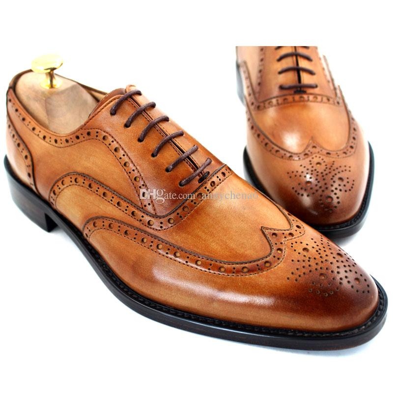Men Dress shoes Oxfords shoes Custom handmade shoes Men's shoes Genuine leather Wingtip brogue Design Color brown HD-054