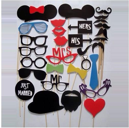 Free DHL Photo Props Glasses Mustache Lip Hold Stick Wedding Birthday Party DIY Masks Fun Favor 1Set 31pcs