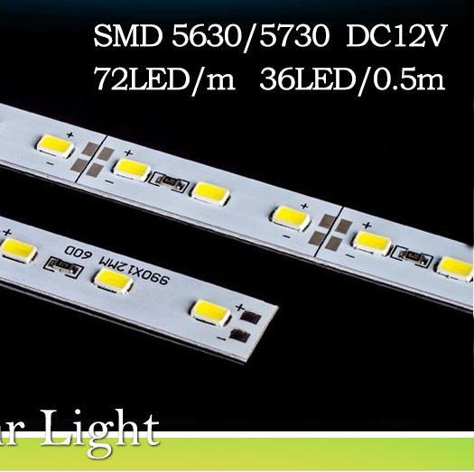 Super jasny twardy sztywny pręt świetlny DC12V 50 CM 36 LED SMD 5630/5730 Stopu aluminiowego LED światła do szafy