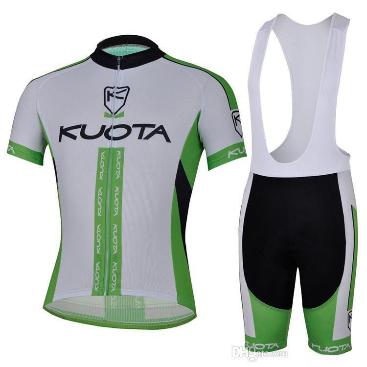 Yeşil renk ekibi KUOTA bisiklet kitleri erkekler için bisiklet gömlek + önlüğü şort kaliteli erkekler sıcak satış giymek