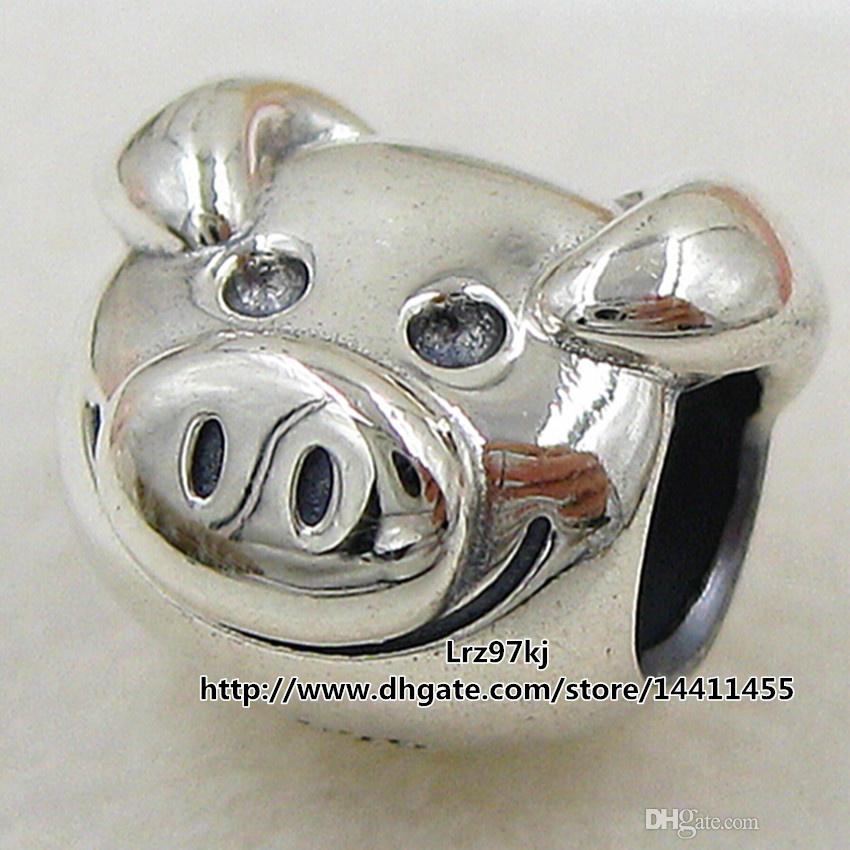 2015 New 925 Sterling Silver Playful Pig Charm Pendant Bead Fits European Pandora Jewelry Bracelets & Necklace