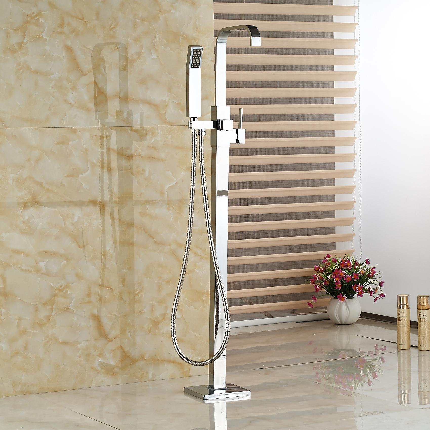 Großhandel Großhandel Und Einzelhandel Badezimmer Badewanne Wasserhahn  Freistehende Bodenmontierte Quadratische Dusche Mischbatterie Badewanne