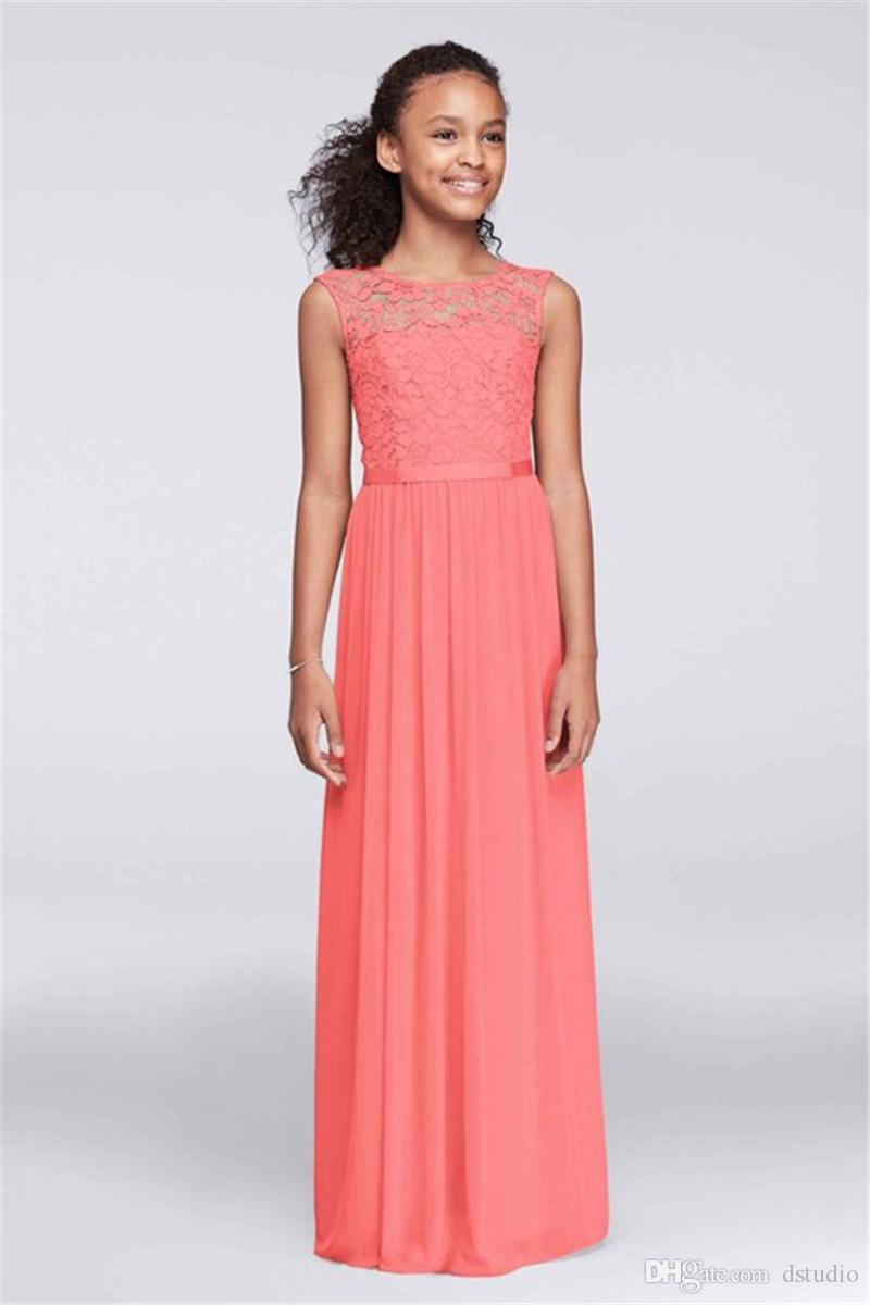 greatvarieties buy sale for whole family Junior Bridesmaid Dresses Chiffon With Lace Coral,Lavender ...