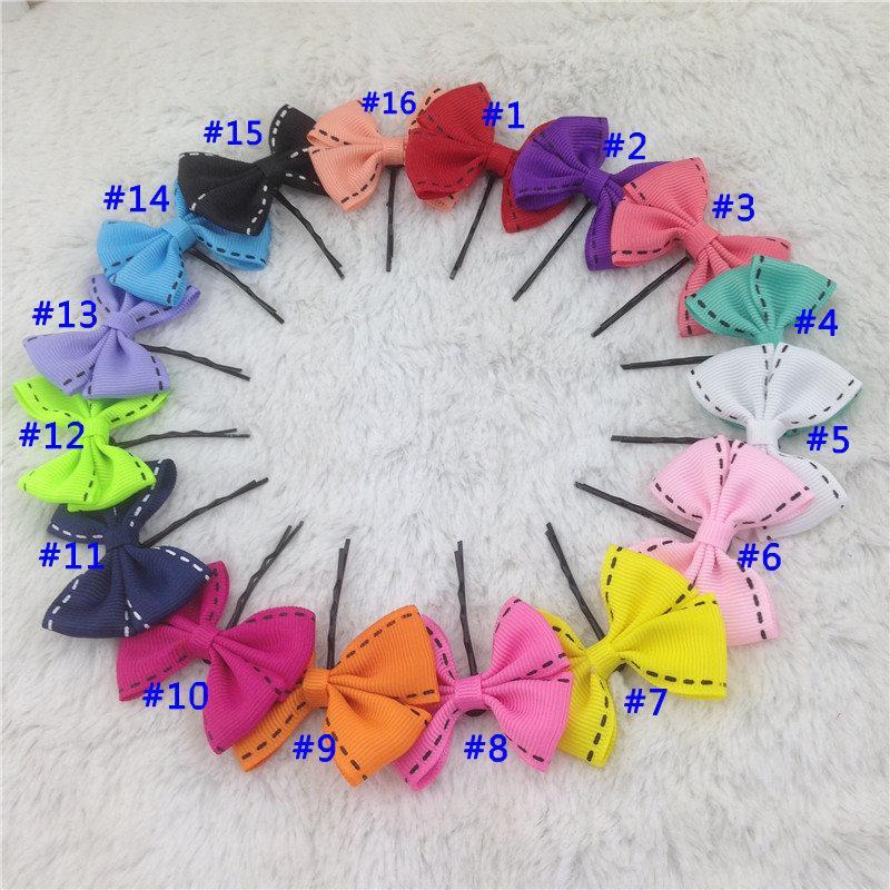 4,5 cm Mini Band Haarschleife Mit Schwarz Bobby Pin Für Mädchen Haarspangen Kinder Haarschmuck Baby Clips 16 farben 32 teile / los