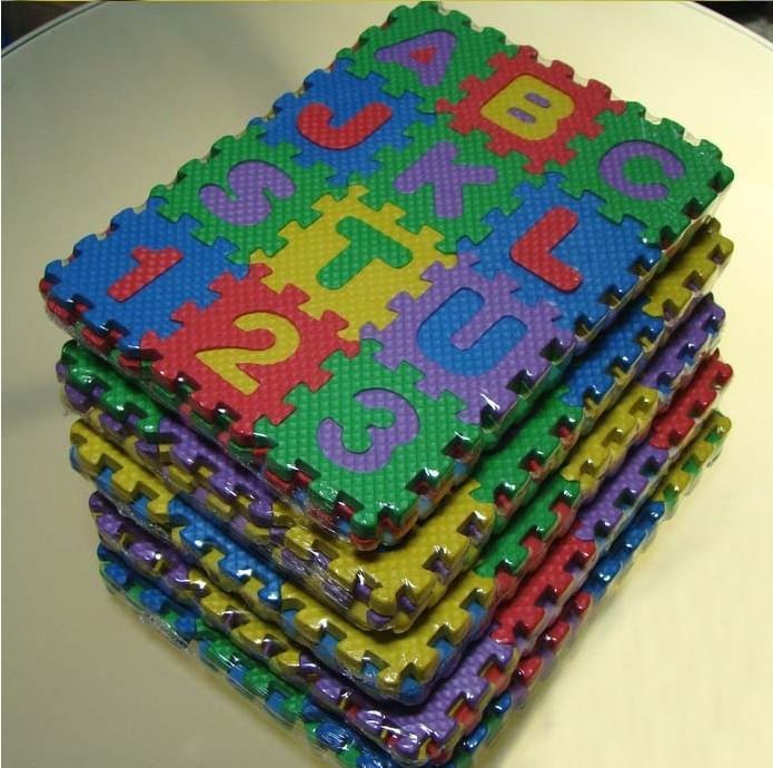 Al por mayor-36Pcs Ambientalmente espuma de EVA rompecabezas números + letras jugar alfombrilla alfombrillas alfombrilla de bebé juguetes para niños alfombra tienda de juguetes 7 cm
