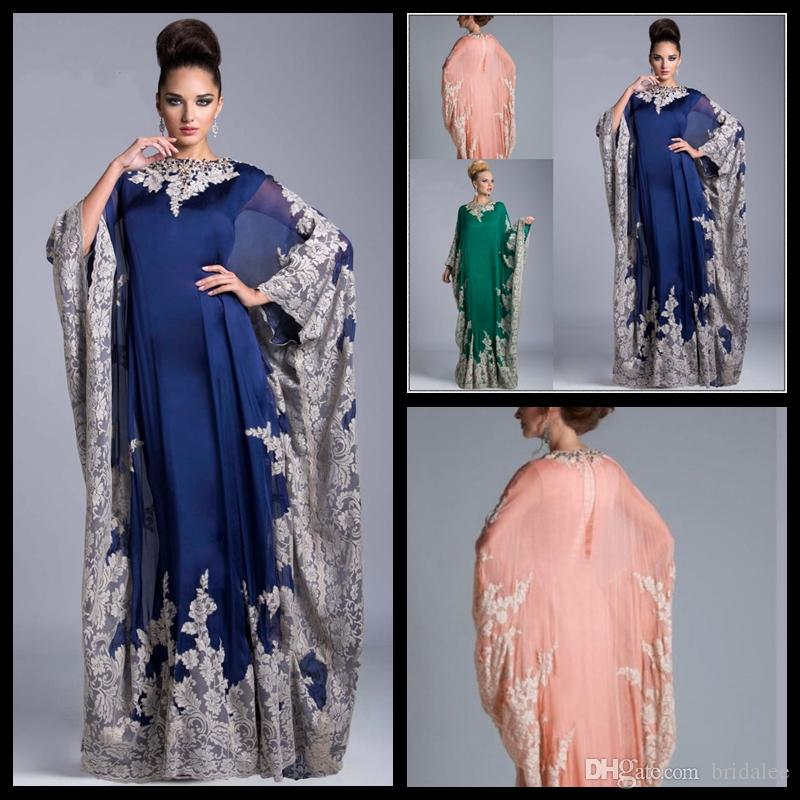 Custom Hecho árabe Kaftan Royal Azul Tarde Vestidos de fiesta 2018 Lace Abaya Dubai Chiffon Madre de la novia